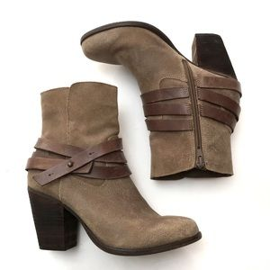 ALDO Distressed Leather Belted Heeled Ankle Boots